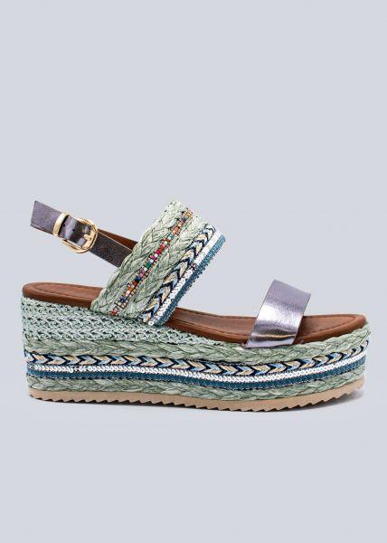 Sandalen mit Keilabsatz, blau