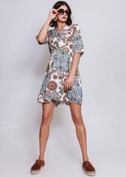 Kleid mit Wickeloptik, weiß