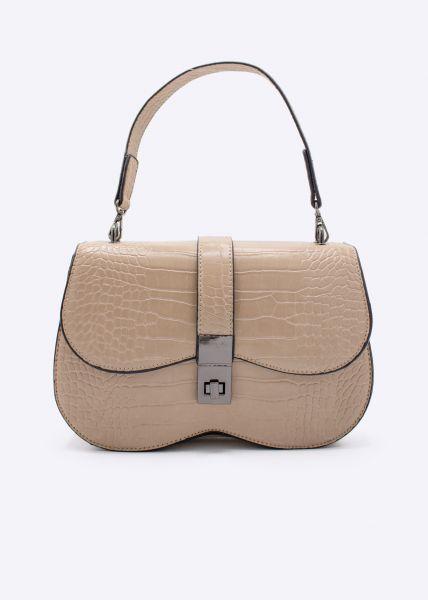 Kroko-Bag mit Überschlag, beige