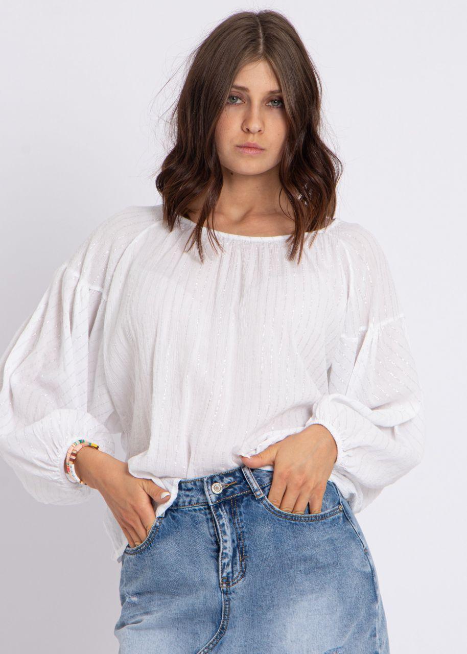 Baumwoll-Bluse mit Glitzerstreifen, weiß