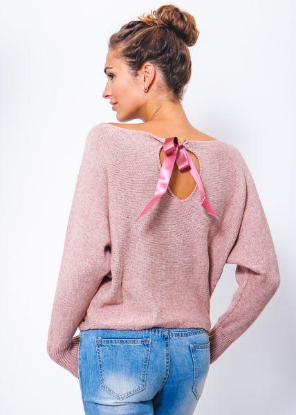 Crop-Strickpullover mit Satinschleife, rosa