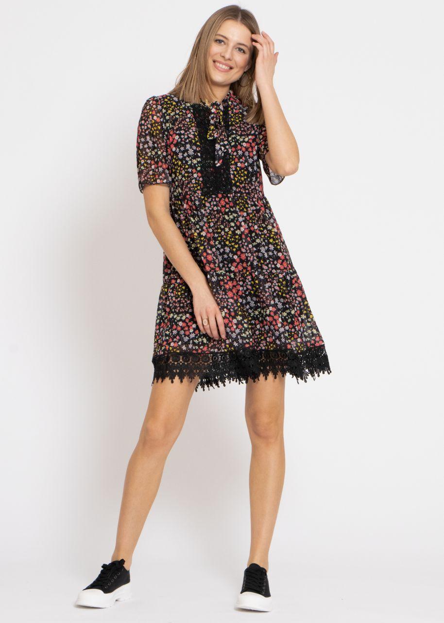 Feminines Kleid mit Blumen-Print und Spitze, schwarz