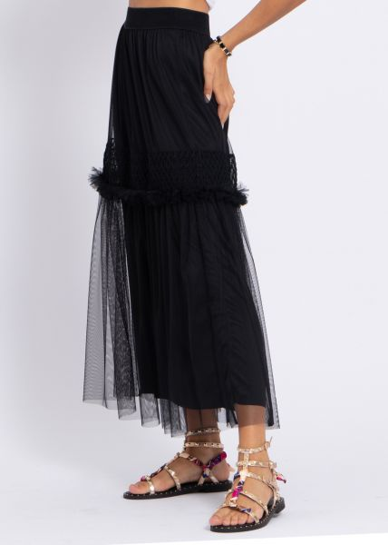 Maxi-Tüllrock mit Bordüre, schwarz