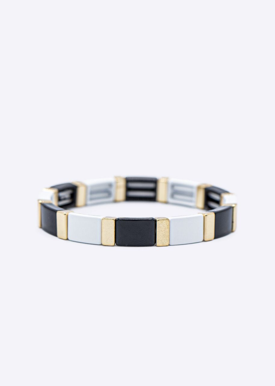 Armband mit gold Akzenten, schwarz/weiß