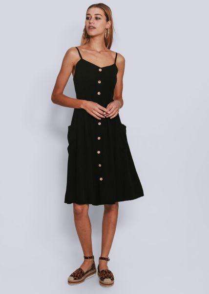 Trägerkleid mit Knöpfen, schwarz