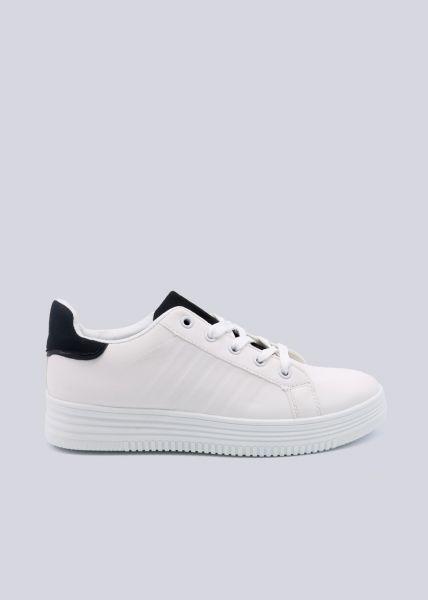 Sneaker mit schwarzer Ferse und schwarzer Zunge, weiß