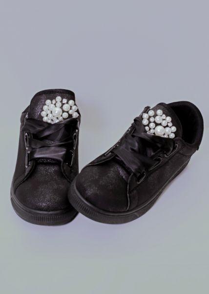 Sneaker mit Perlenbesatz, schwarz