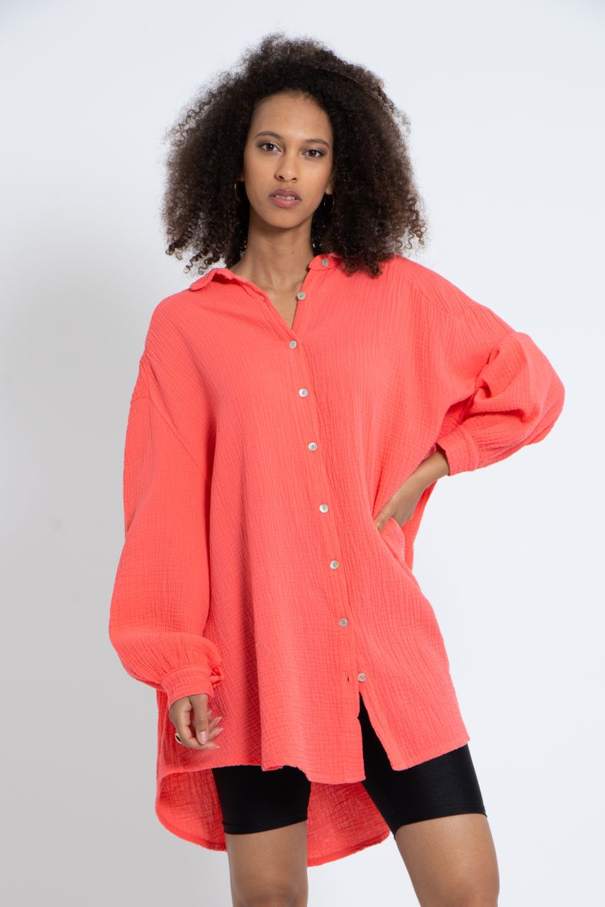 Ultra oversize Blusenhemd, koralle
