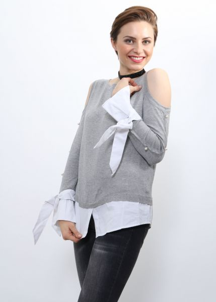 Two in One Pullover mit Cut Outs, grau