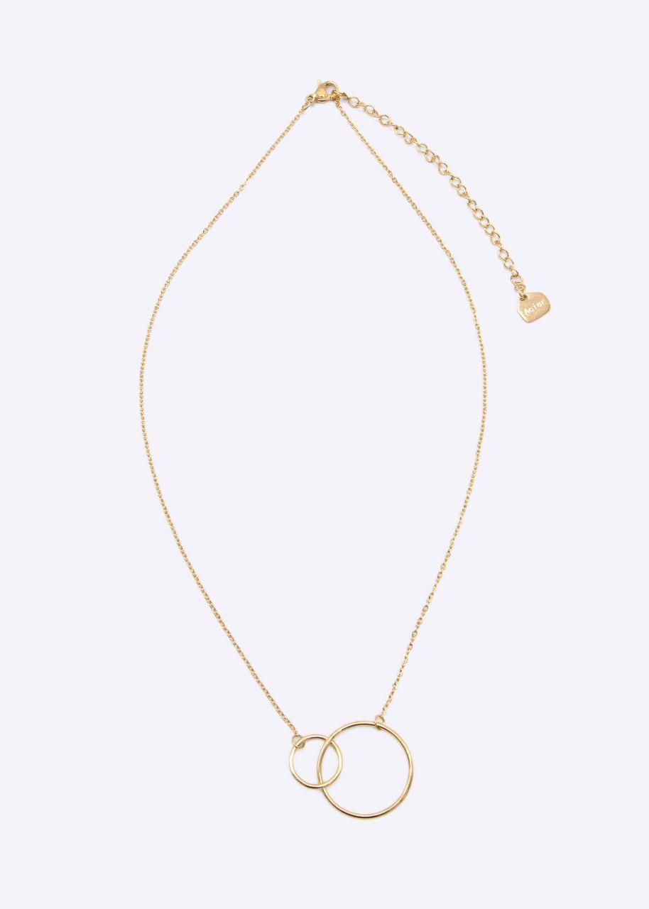 Halskette mit 2 Kreisen, gold