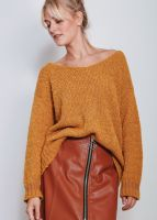 Oversize Pullover in Loop-Strick, senfgelb