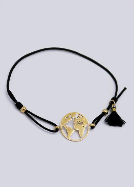 Armband mit goldenem Welt-Anhänger, schwarz