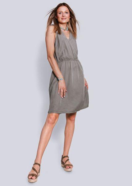 Kleid in Wickel-Optik, khaki