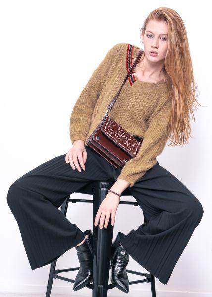 Destroyed Pullover mit V-Ausschnitt, braun