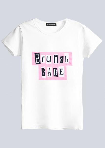 """T-Shirt """"BRUNCHBABE"""", weiß"""