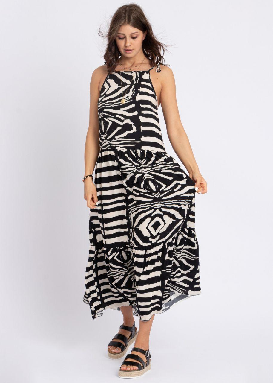 Maxi-Trägerkleid mit Print, schwarz/beige