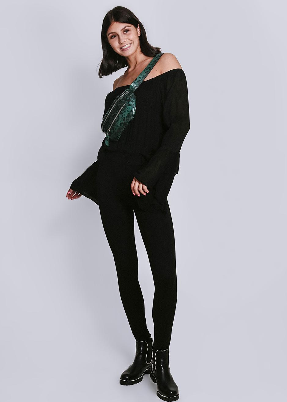Leggings mit Stepp und Knöpfen, schwarz