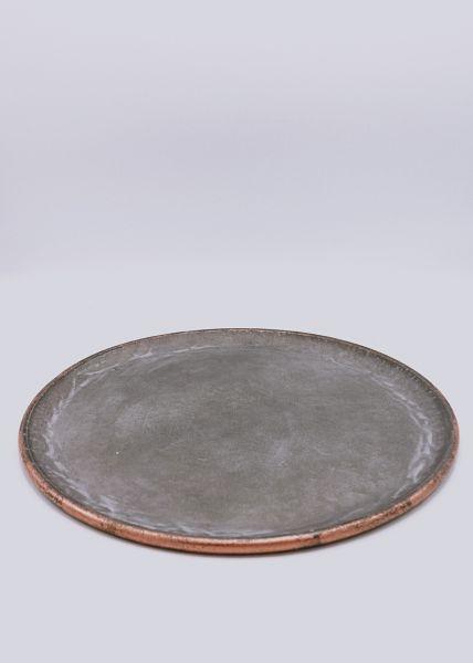 Schale mit kupferfarbenem Rand, grau
