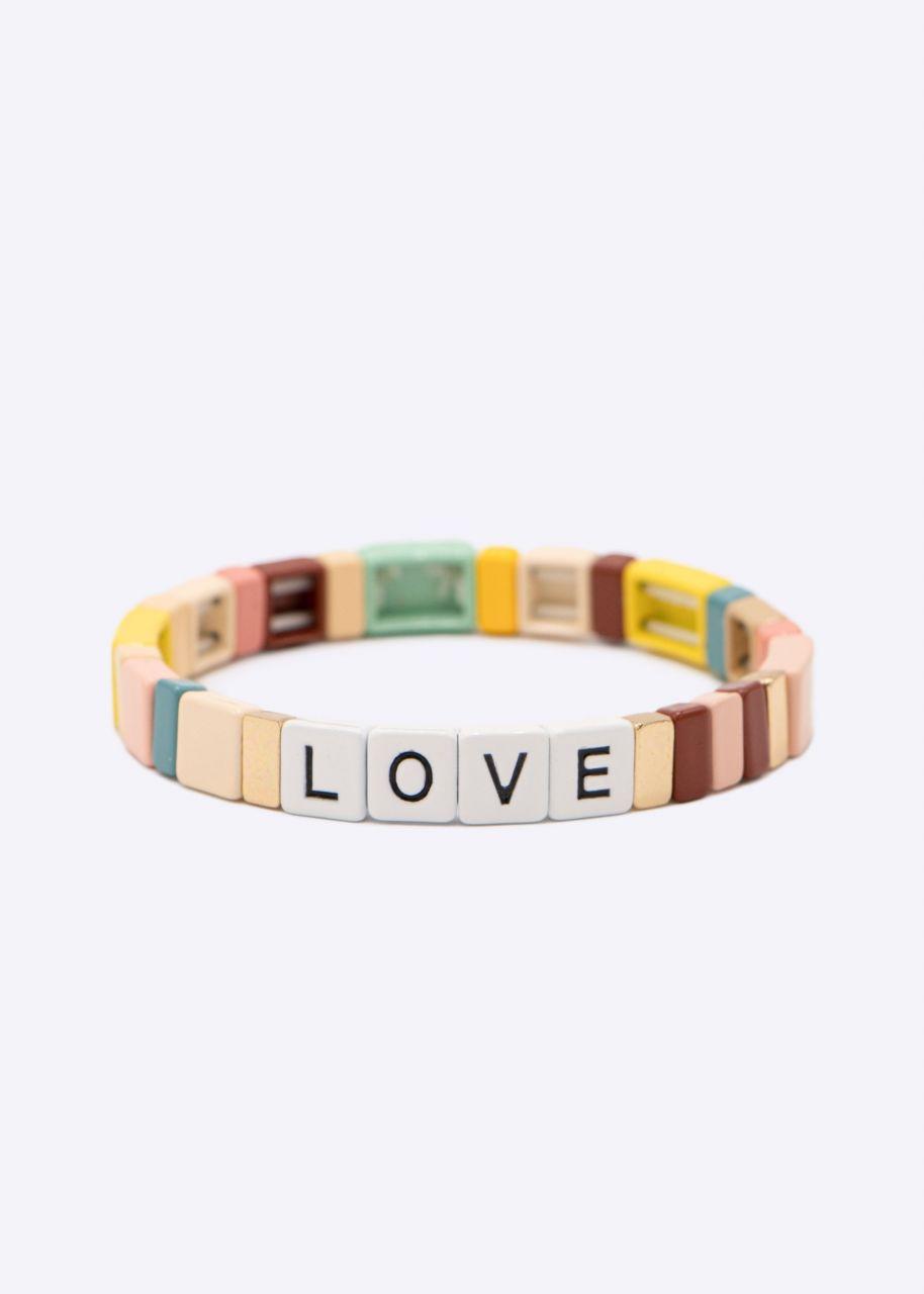 Buntes LOVE Armband, lachs