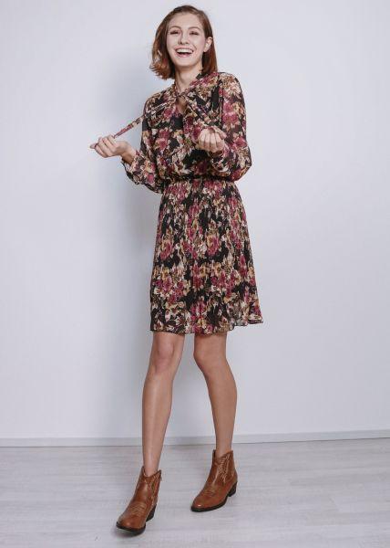 Kleid in floralem Print, schwarz