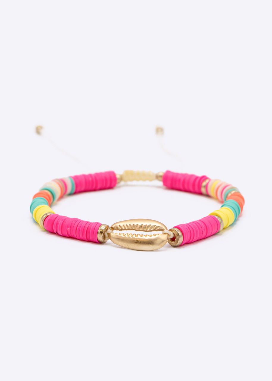 Buntes Armband mit gold Muschel, pink
