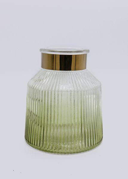 Vase mit Metallbanderole, grün