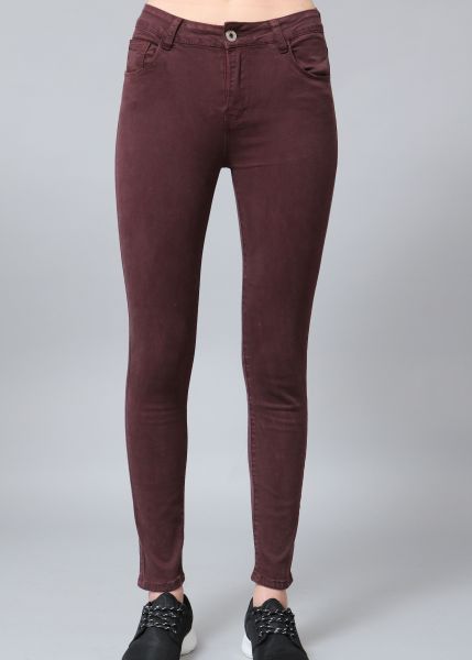 Highwaist skinny Jeans, bordeauxrot