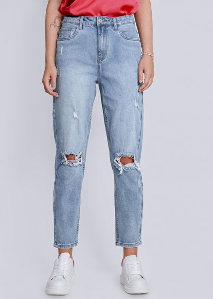 Mom-Jeans, destroyed, blau