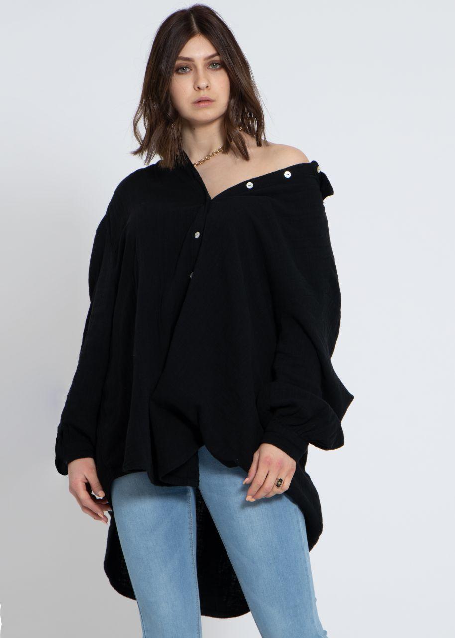 Ultra oversize Blusenhemd in Leinen-Optik, schwarz