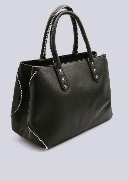 Shopper mit silbernen Perlchen, schwarz
