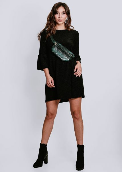 Hängerchenkleid in Lurex, schwarz