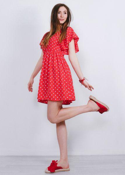 Hängerchenkleid mit Tupfen, rot