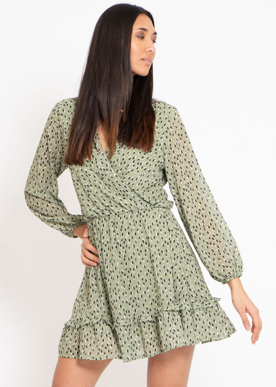 Kleid mit Wickel-Optik und Tupfen-Print, khaki