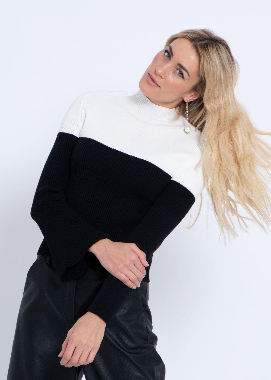 Zweifarbiger Rippen-Pullover, offwhite/schwarz