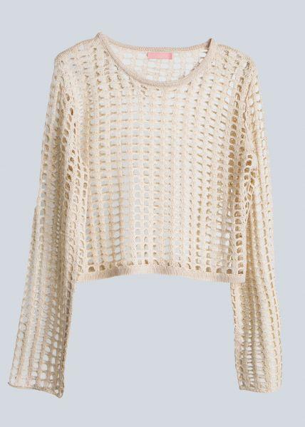 Netz-Pullover, beige