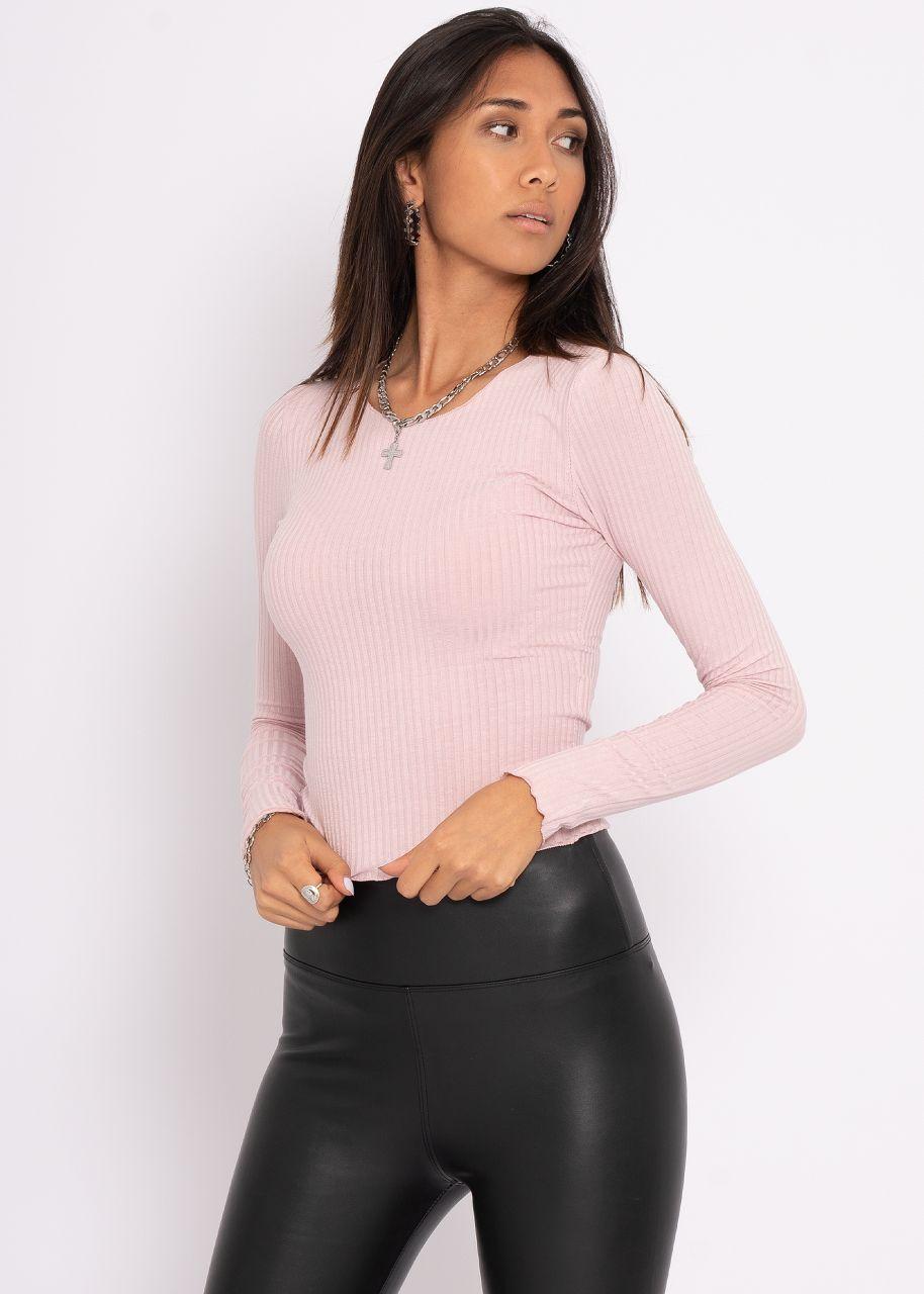 Rippen-Shirt, rosa
