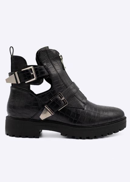 Cut-Out Boots mit Reißverschluss und Schnallen, schwarz
