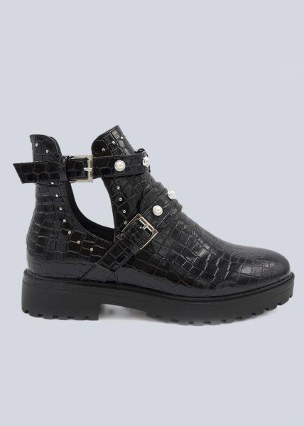 Kroko Cut-Out Boots mit Perlen, schwarz