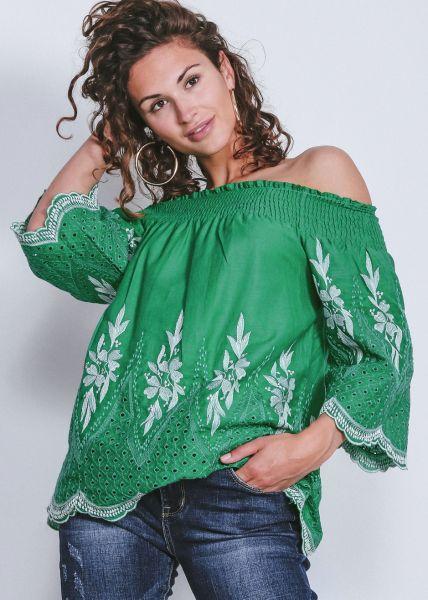 Schulterfreie Tunikabluse, grün
