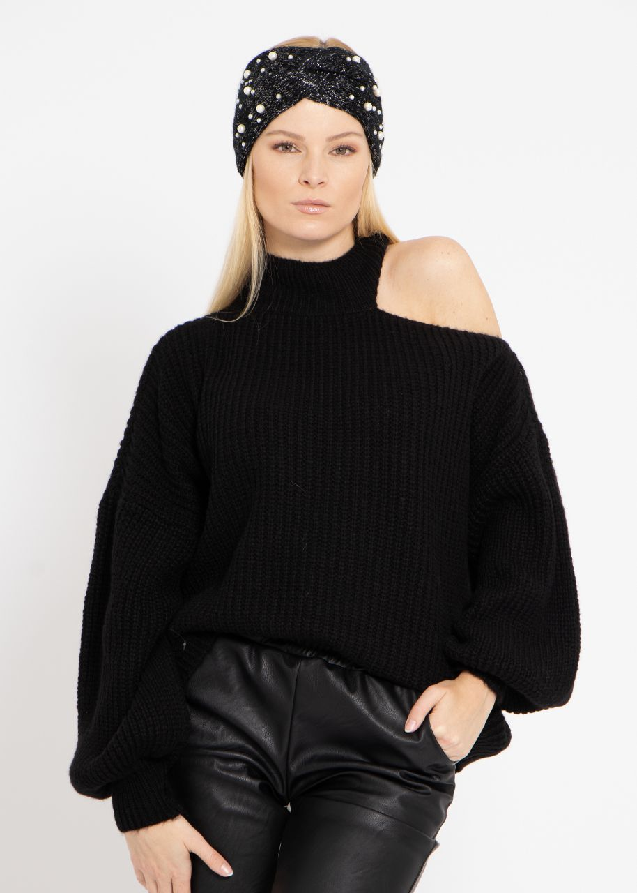 Oversize Cut-Out Pullover, schwarz