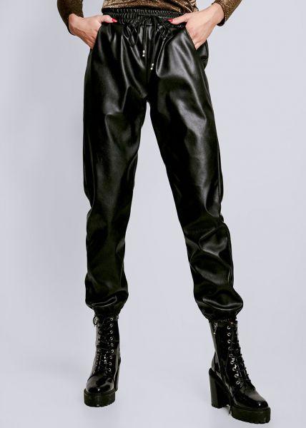 Lederhose mit Gummibund, schwarz