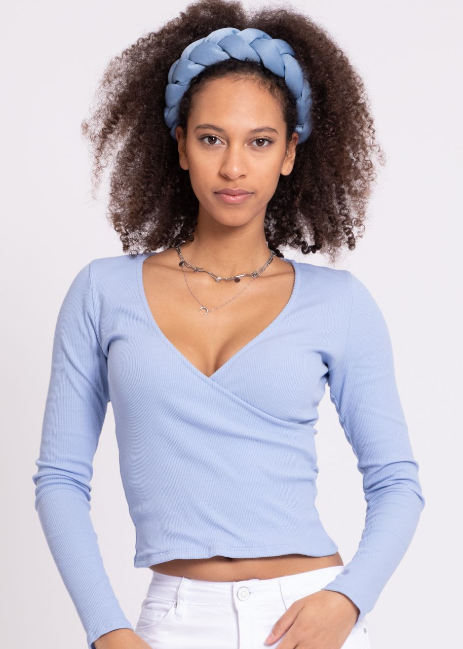 Jersey-Shirt mit Wickel-Optik, hellblau