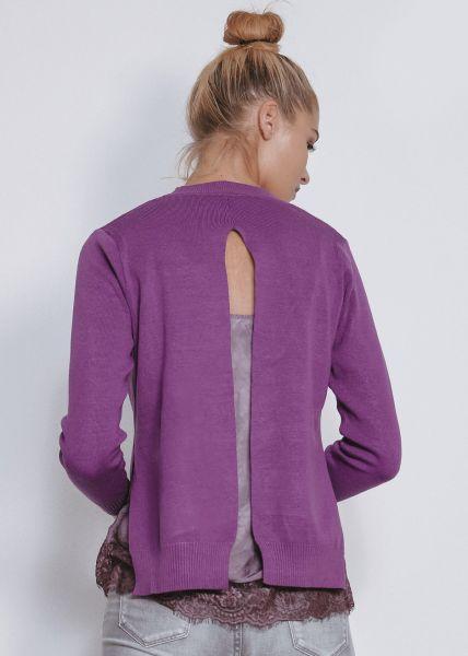 Pullover mit Schlitzen, lila