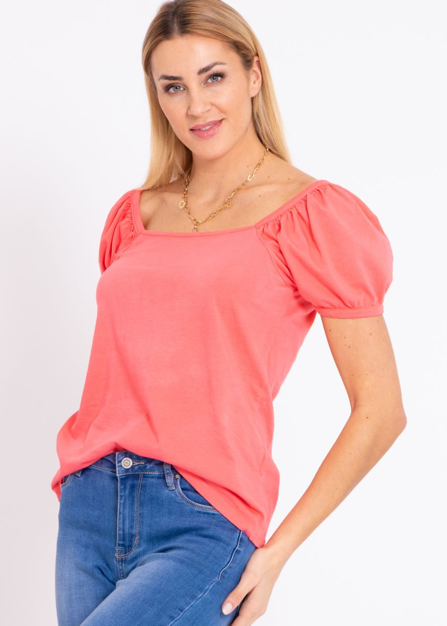 T-Shirt mit eckigem Ausschnitt, koralle