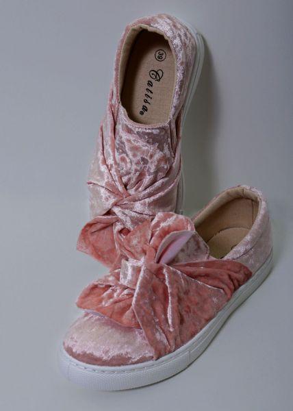 Velvet-Sneaker mit Schleife, rosa
