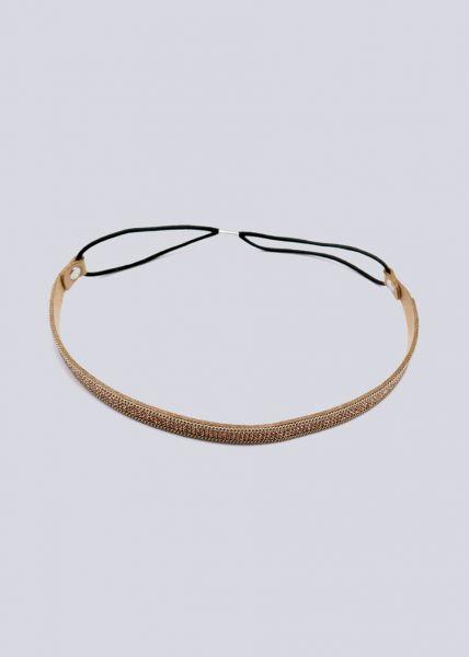 Haarband mit Glitzersteinen, camel