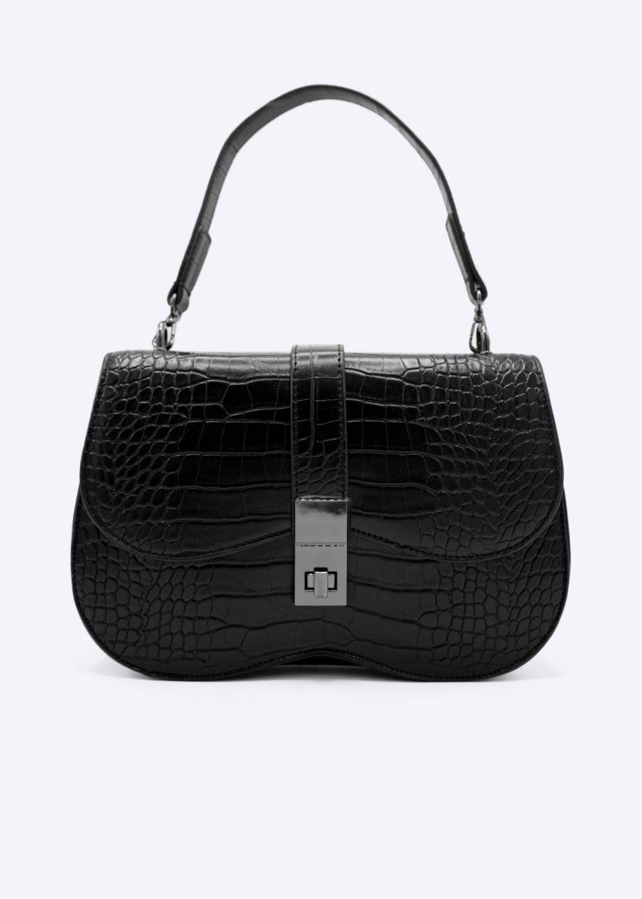 Kroko-Bag mit Überschlag, schwarz