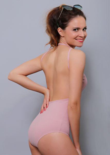 Rückenfreier Body, rosa
