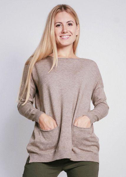 Oversize Pullover mit Taschen, beige