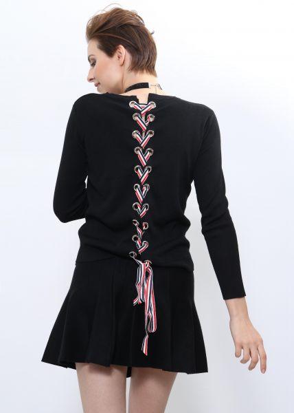Pullover mit Schnürung im Rücken, schwarz